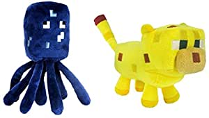 """Set Of 2 Ocelot And Squid Minecraft Animal 7"""" Plush Toy Doll"""