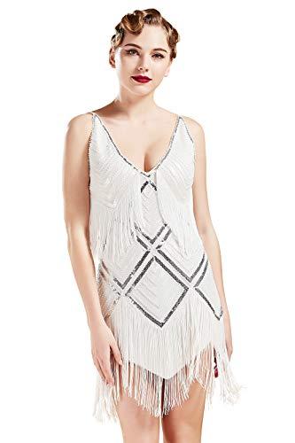 BABEYOND Women's 1920s Flapper Dress V Neck Slip Dress Roaring 20s Great Gatsby Dress for Party (White, L) -