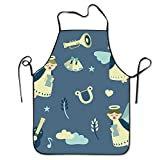 Embroidery Letter And Cat Beautiful Art Men Kitchen Restaurant Bib Apron