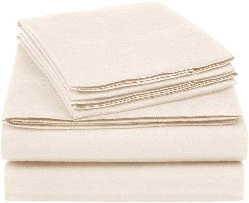 AmazonBasics Essential Cotton Blend Sheet Set -King, Beige