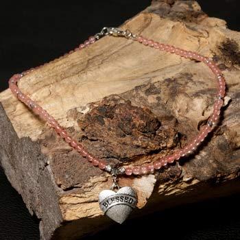 Heart Shape Pendant Blessed Necklace for Women Choker Natural Stone Boho Necklaces Pendants Yoga Jewelry - Pink Quartz