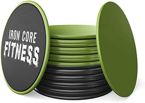 Iron Core Fitness 2 x Dual Sided Core Sliders Ultimate Core Trainer Gym, Home Abdominal Total Body Workout Equipment for use on All Surfaces
