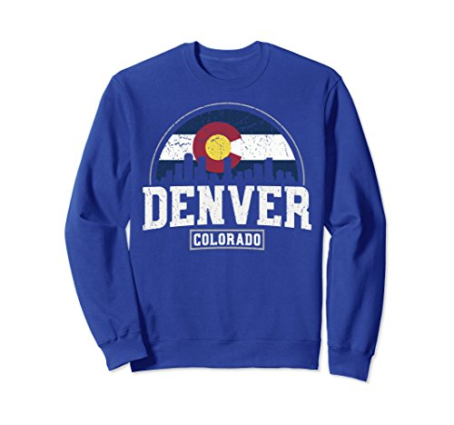Colorado Pullover - Unisex Denver Skyline Sweatshirt - Denver Colorado Flag Gift Small Royal Blue