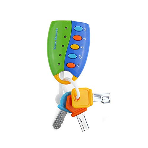 - DREAMT Musical Car Key Keychain Toy Remote Car Voices Pretend Play Education Toy, Funky Toy Keys for Toddlers and Babies (Blue)