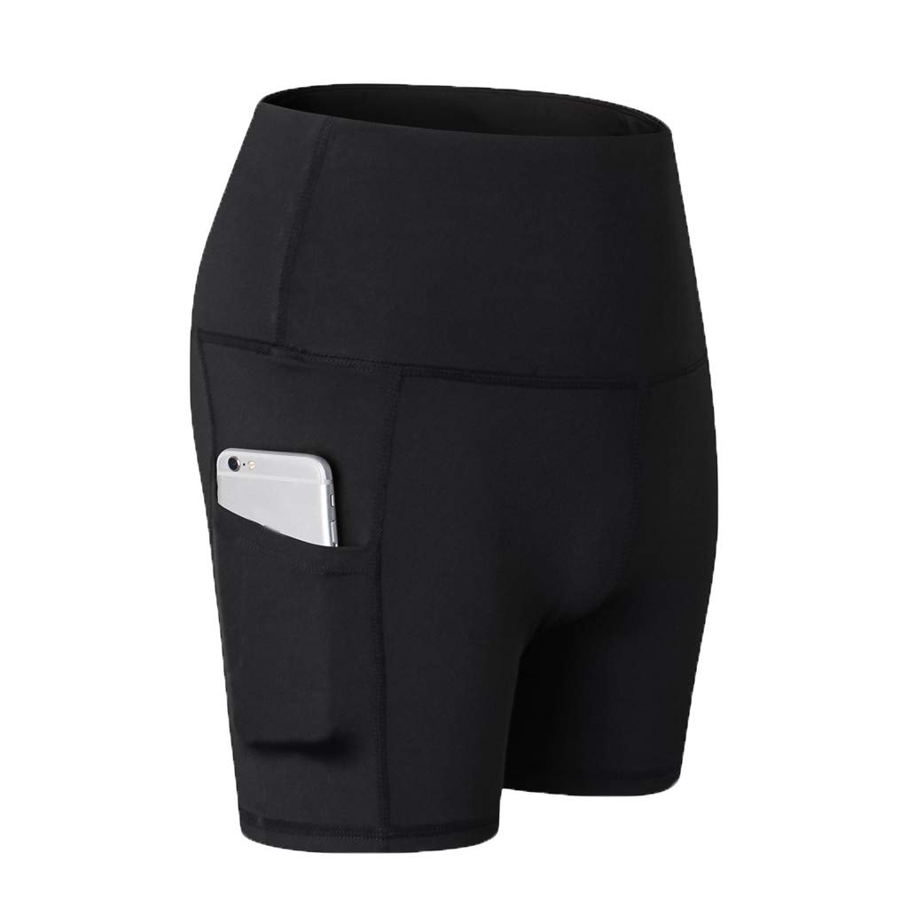 Yago Pants for Women, High Waist Out Pocket Solid Color Workout Sports Running Fitness Short Pants (XXL, Black)