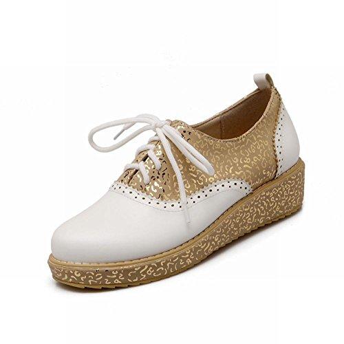 Dames Schoenen Comfort Dames Lace-up Mode Bedrukking Assorti Kleuren Casual Lage Hak Oxfords Schoenen Wit