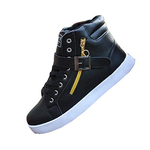 Popolari Scarpe Alte Scarpe Da Uomo Fibbia Canvas Lace-up Cerniera Appartamenti Comode Sneaker Board Trainer Nero