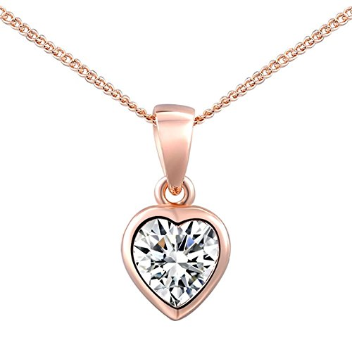 YEAHJOY Women's Fashion Heart-shaped Single Crystal Paving Pendant Necklace 3 Lays Rose Gold /Platinum Plated (rose-gold-plated-base)
