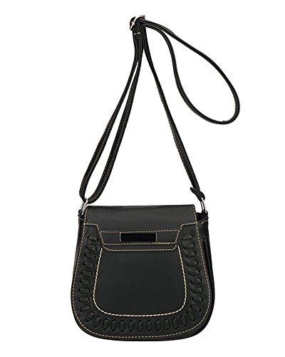 Damen Kleine Handtasche PU Leder Schultertasche Retro Umhängetasche Braun Schwarz