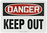 Accuform MADM064VA Aluminum Safety Sign, Legend ''DANGER KEEP OUT'', 10'' Length x 14'' Width, Red/Black on White