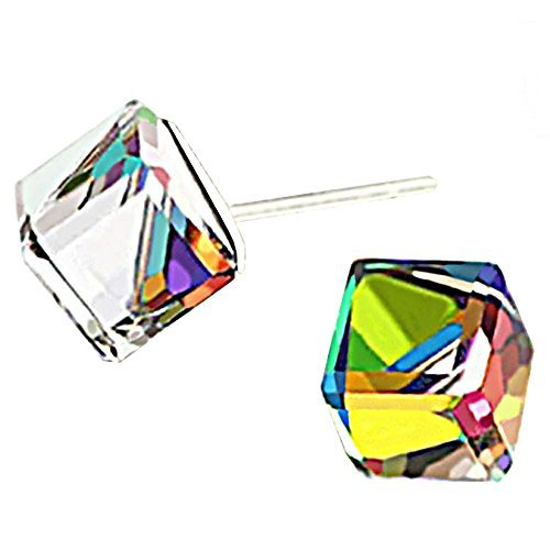 Color Change Crystal Square S925 Sterling Silver Stud Earrings Women Girl ()