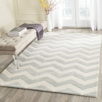 CREATIVE WEAVER Hand Made Wool Pile Modern Style Zig ZAG Design L.Gray Color Area Rug Carpet 5.0X8.0ft 243cm X 152cm