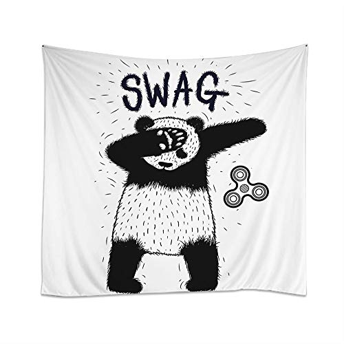 Moslion Panda Tapestry Cool Animal Dub Dancing Rap Swag Panda Hipster Doodle Dot Wall Hanging Tapestries One Side Decorative Home Art Polyester for Living Room 60x51 Inch -