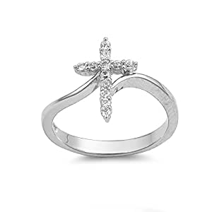 Sterling Silver 15mm Cross CZ Ring (Size 4 - 10) - Size 10