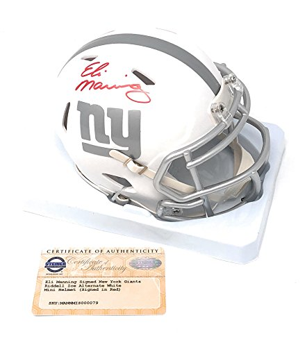 Eli Manning New York Giants Signed Autograph Speed Ice Mini Helmet Red Ink Steiner Sports Certified (New York Giants Mini Speed Helmet)