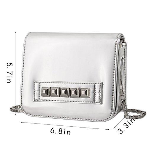 Cross Party Girls Hologram Body Shoulder Bag Shiny PU Silver4 Silver Women Bag Handbags Novias Boutique BqYFRR