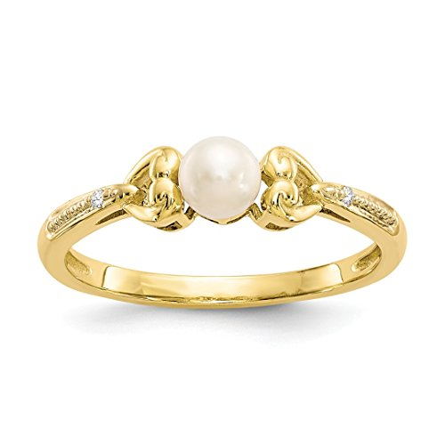 ICE CARATS 10k Yellow Gold Freshwater Cultured Pearl Diamond Band Ring Size 7.00 Birthstone June Oval Style Fine Jewelry Ideal Mothers Day Gifts For Mom Women Gift Set From Heart