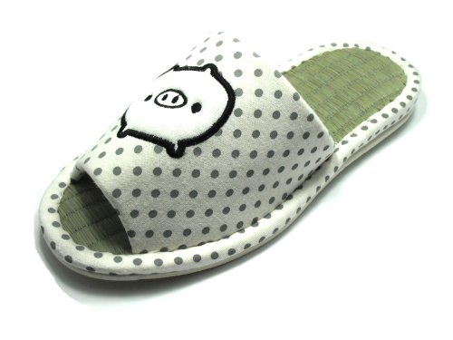 KNP26032T/Indoor Bamboo Breathable Slippers with Baby Piggy Available Four Sizes and Two Colors (L(9-10)/39-40 L EU, White)