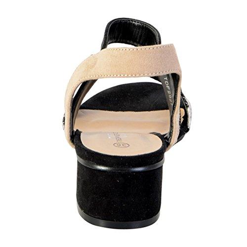 Sandalia de Tacón Pequeño de La Divina Fábrica TDF2927 Negro Noir