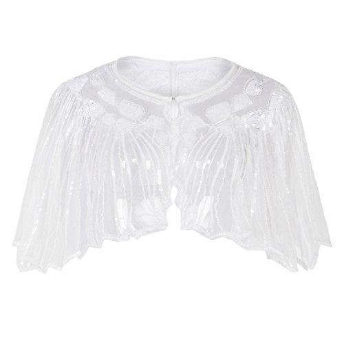 PrettyGuide Women's 1920s Shawl Beaded Sequin Deco Cape Bolero Flapper Cover Up White
