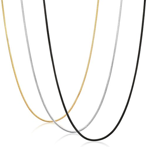 FIBO STEEL 0.9mm Stainless Steel Mens Womens Necklace Snake Chain 3 Pcs a Set, 24 inches