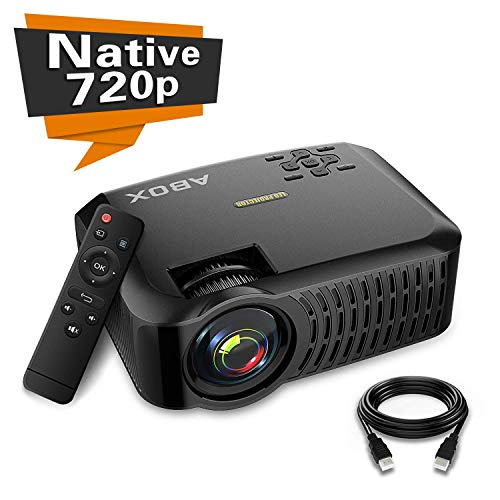 "Projector, ABOX A2 LED Movie Video Projector with Full HD Native 720p, 100 ANSI Lumen, 180"" Big Screen, Hifi Speaker, Support 1080p with HDMI/USB/SD Card/VGA/AV Ports For Home Theater/Laptop/TV/Phones"