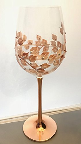 Hand Painted Copper, Rose Gold Wine Glasses Set of 2 - Gold Handmade Glass