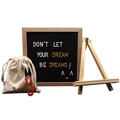 Letter Board - Black Felt with 580 Plastic Changeable Characters - Wooden 10 x 10 inch Square Oak Frame - with 6 x 5 inch Canvas Storage Bag, Wood Display Stand, Mounting Hook, Letter Pruner