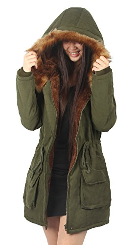 - iLoveSIA Womens Hooded Coat Faux Fur Lined Jacket Army Green 14