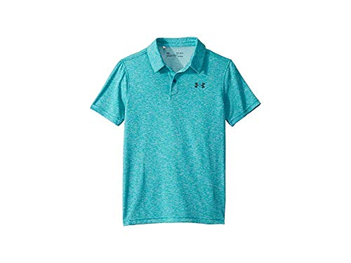 Under Armour Kids Boy's Threadborne/TBD Polo (Big Kids) Teal Rush Light Heather/Teal Rush Light Heather/Pitch Gray Small by Under Armour