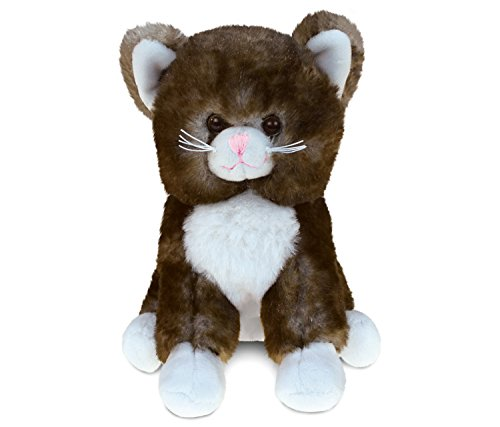Puzzled Brown Cat Super-Soft Stuffed Plush Cuddly Animal Toy - Animal Theme - 6 INCH - Unique huggable loveable New friend Gift - Item #5338