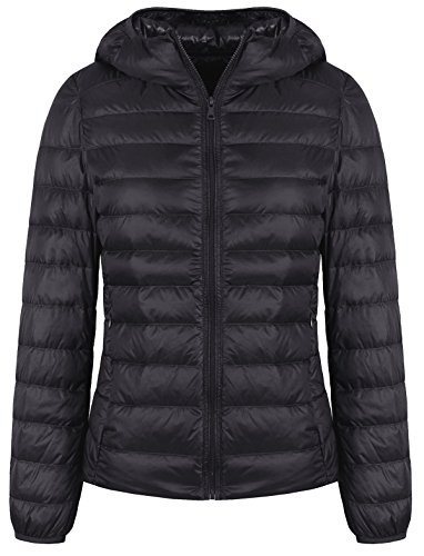 FADTOP Womens Hooded Packable Ultra Light Weight Short Down Jacket Down Coat