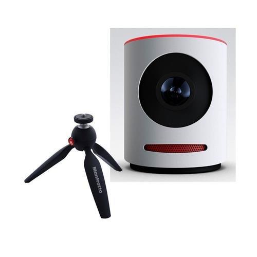 Mevo Live Event Camera by Livestream, White - Bundle Manfrotto PIXI Aluminum Mini Tripod Black Action Cameras Mevo