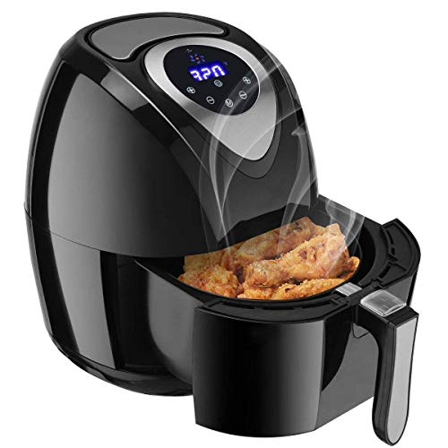 Costzon Air Fryer, 3.4 Quart 1400W, Healthy Oil Free Cooking, 7-In-1 Electric Deep Cooker with LCD Touch, Temperature and Time Control, Dishwasher Safe, Detachable Basket Handle
