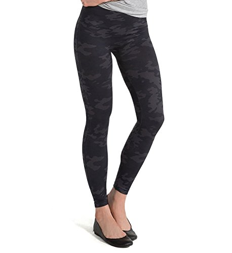 SPANX Women's Seamless Camo Leggings, Black Camo, Medium