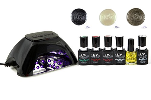 UV-NAILS V10 LED Starter Kit | UV Gel Polish and LED Lamp | Base Coat | Top Coat | Soak Off | UV-NAILS Gelish , OPI , IBD , CND | Colors: GL-9, GL-18, GL-15