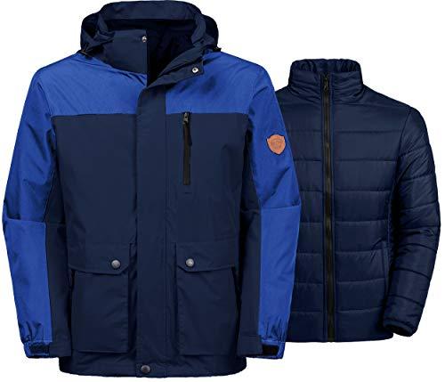Wantdo Men's Thick 3-in-1 Ski Jacket Hooded Mountain Coat Parka Outwear Blue M