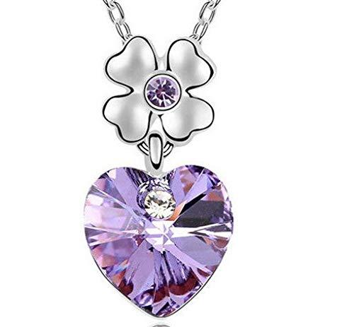 Fashion Womens Heart Purple Crystal Rhinestone Silver Chain Pendant Necklace ~пјЃ (Heart Necklace Clemson)