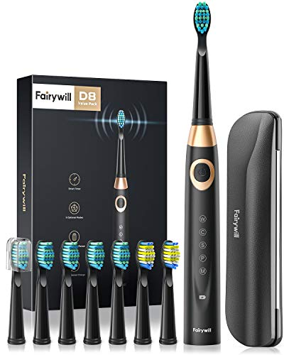 Fairywill Electric Toothbrush for Adults and Kids Accepted via American Dental Association, 8 Dupont Brush Heads & Travel Case 5 Modes Rechargeable Whitening Power Sonic Toothbrush Smart Timer Black