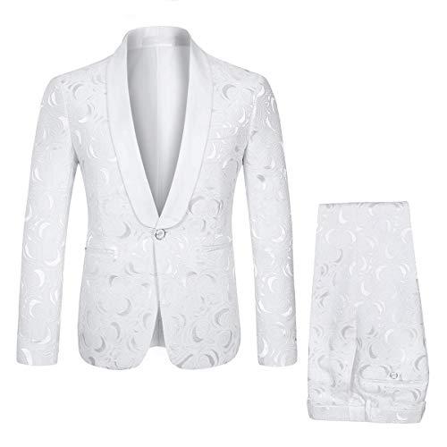 - YFFUSHI Mens 1 Button 2 Piece White Tuxedo Shawl Collar Skinny Dress,White,Bust(Jacket) 45 Waist(Pants) 34