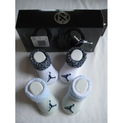 Nike Jordan Booties Girl Boy Baby Infant with Jordan Jumpman Sign Sock 2 Pair, 0-6 Months, Blue and White