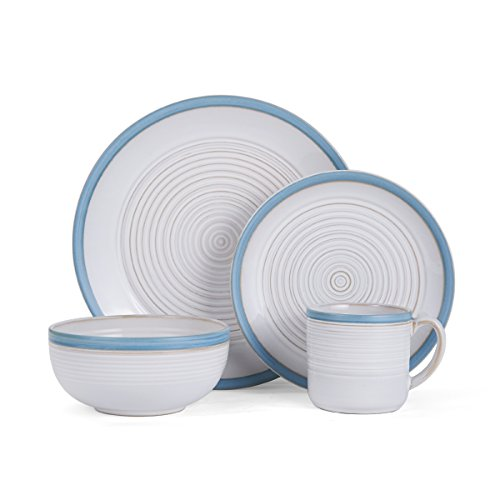 (Pfaltzgraff Carmen Teal 16-Piece Stoneware Dinnerware Set, Service For 4)