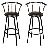 """Coaster CO- Buckner 29"""" Metal Bar Stools with Faux Leather Swivel Seat, Set of 2, Black"""
