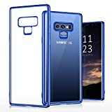 TORRAS Crystal Clear Galaxy Note 9 Case, Clear Ultra Thin Slim Fit Soft TPU Gel Case Cover with Electroplated Frame Compatible with Samsung Galaxy Note 9(2018), Clear Back/Blue Frame