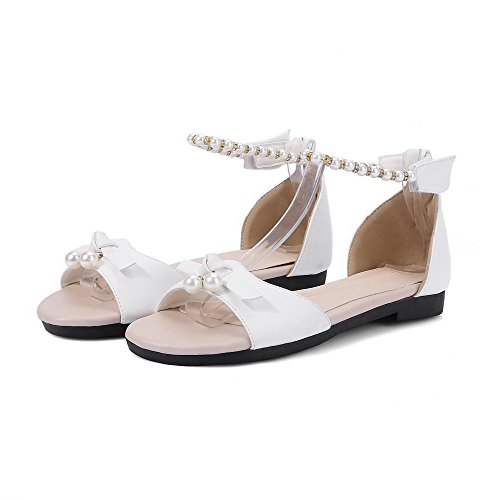 Toe Hook Loop Solid Open WeenFashion Heels and White Women's Low Pu Sandals qnxUa