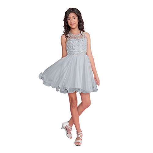 Calla Collection Big Girls Silver Jewel Short Special Occasion Tween Dress 18 by Calla Collection USA