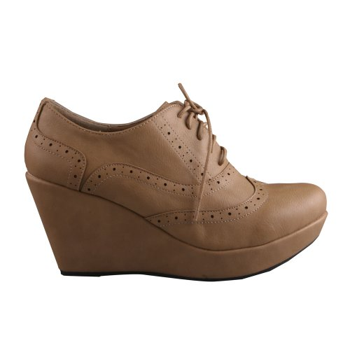 Uppdaterings Womens Lace-up Plattform Oxford Styls Kil Tossor Taupe