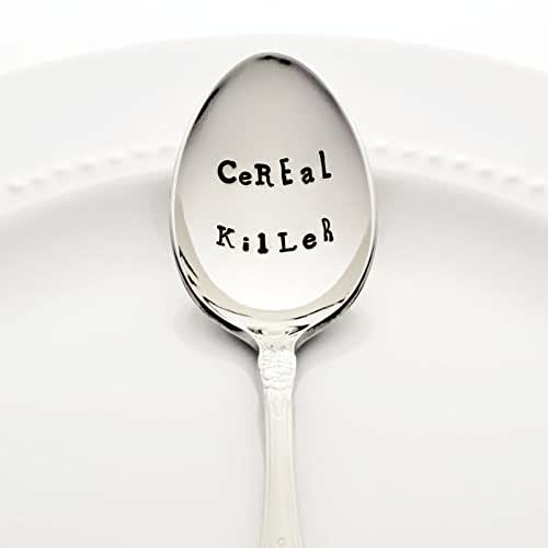 CeREaL KilLeR - Hand Stamped Spoon, Stainless Steel Stamped Silverware by Bon Vivant Design House
