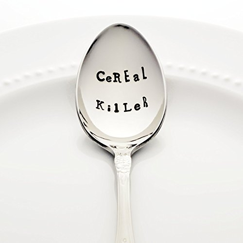 CeREaL KilLeR - Hand Stamped Spoon, Stainless Steel Stamped Silverware by Bon Vivant Design House - Food Pun Novelty Foodie Gifts]()