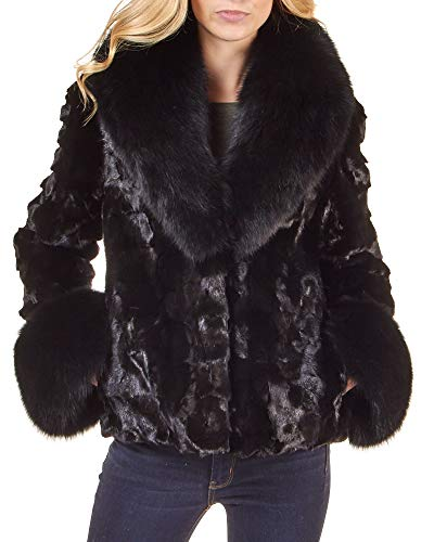(frr Sculptured Mink Fur and Fox Fur Jacket - 3X-Large)